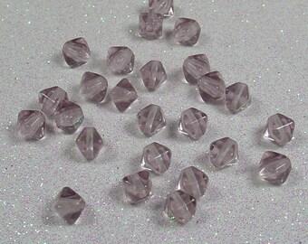 PYRAMID BEAD DOUBLE 6MM AMETHYST CLEAR BOHEMIAN GLASS