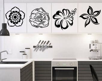 4 Flowers Set, Interior Sticker, Window Sticker, Wall Decal, Wall Decor, Wall Sticker, Nature