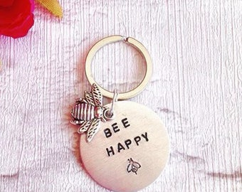 Bee happy - positive mantra- hand stamped metal keyring - bumble bee charm