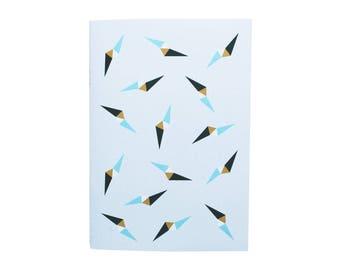 Bleu and grey notebook - geometric pattern - Coup de foudre