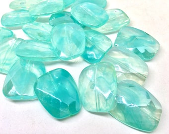 Teal & Clear Large Translucent Beads, Faceted Nugget Bead, crystal bead, 30mm bead, clear beads, translucent beads, bangle beads, blue beads