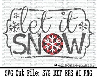 Let it Snow plaid Christmas SVG cutting file, Christmas svg, socuteappliques, Plaid svg,  Winter svg, plaid snowflake svg