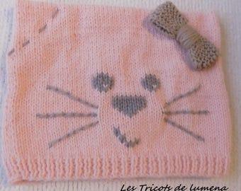 bonnet bébé hiver tricoté main chat à personnaliser, chapeau d'hiver bébé nouveau né tricoté main , tuque chat bébé tricot mixte
