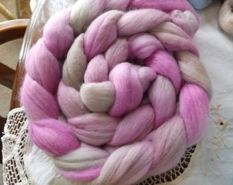 Merino roving hand dyed 20 micron 105 gms Colour 7 Pinks Greys