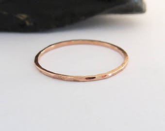 Thin Copper Ring,  Hammered 1,0 mm Copper Ring, Dainty Ring, Super Thin Copper Stacking Ring, Stackable Copper Ring
