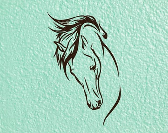 Horse Head Decal, Horse Decal, Horse Riding Decal, Horse Love Decal, Equestrian Decal, Horse Bumper Sticker, Horse Trailer Decal, Car Decal