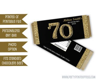 Gold Birthday Favors - milestone Adult Party Favors candy - Adult Birthday Party - Personalized Candy Wrappers - gold glitter 50th 60th 70th