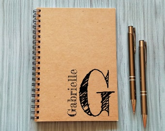 Personalized Notebook, [Custom Name] & Monogram- 5 x 7 Journal, Diary Journal, Notebook Author Gift Writer