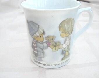ON SALE Precious Moments mug Christmas Is A Time To Share 1984, Two little Precious Moments mug.
