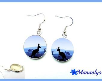 Kangaroo, Australia, 1855 glass cabochons earrings