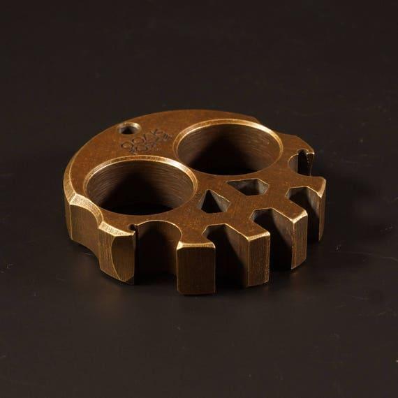 Compact Brass Skully Multi-Tool // bottle opener, handmade, custom, keychain