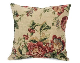 Gobelin roses pillow cover, shabby chic throw pillow cover, romantic pillowcase, shabby chic deco, pillow cover 18 x18, pink roses pillow