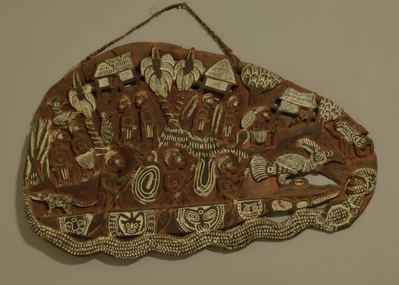 Papua New Guinea Story Board Wood Kambot Handmade Carved Wood Relief  Story People Life Village Storyboard
