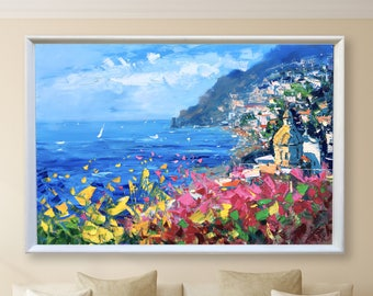 Positano Italy Oil Painting Impressionist Paintings Abstract Landscape Painting Canvas Painting Seascape Painting Unique Gifts for Women
