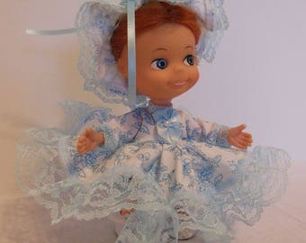 Blue Floral Dress Set for 6.5 Inch Uneeda Tiny Sophisticates Doll