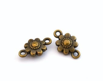 2 antique bronze flower connectors