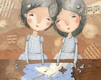 Two Princesses and Unicorn, Illustration, Girls, Twins, Light Blue and Brown, Wall Art, Original Artwork