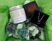 FLUORITE Crystal&Candle box - Candle gift box - Crystal gift - Fluorite gift box - Surprise box - Candle subscription box