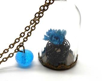 Necklace blue mix glass bead spun