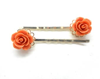 Lot 2 silver pins, old flower pink
