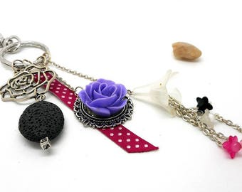 A scent! silver plated bag charm, charms, pink and purple tones
