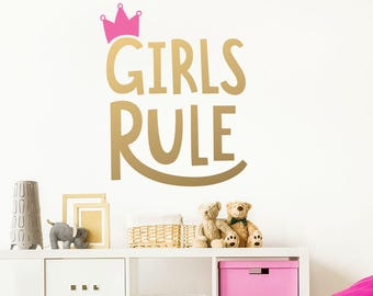 Girls Rule Wall Decal   Kids Room Decal, Nursery Decal, Removable Wall  Sticker,