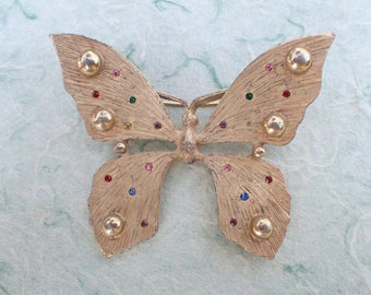 Vintage Signed TARA Butterfly brooch gold tone and rhinestones AB785
