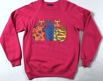 Vintage 80s Laurel Burch Bright Pink 3 Classic Cats Sweatshirt Size Medium 38-40