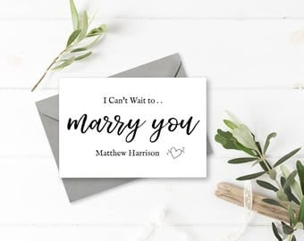 Can't Wait to Marry You - Personalised Husband or Wife to be Wedding Day Card, Handmade, Personalized for Bride or Groom.