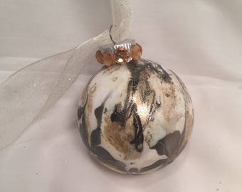 Hand Painted Glass Christmas Ornament Marbled  Swirl Black Gold White Rhinestone Ribbon