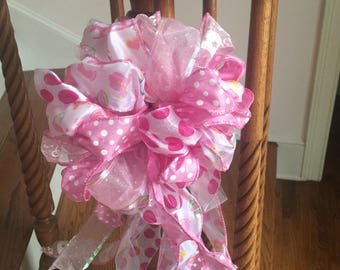 Baby Girl Gender Reveal Door Banister Mailbox Pink   Ribbon Bow