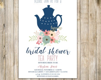 Fall BRIDAL SHOWER TEA Party Invitation, Bridal Tea Party Invites, Floral Bridal Shower Tea Invite, Floral Bridal Brunch, Engagement Party