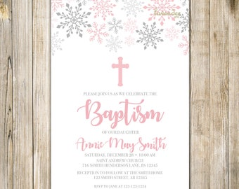 LITTLE SNOWFLAKE BAPTISM Invitation, Pink Silver Snowflake Baptism Invite, Winter Christening, Rustic Winter Baby Girl Dedication, Religious
