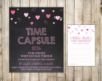 VALENTINE 1st Birthday TIME CAPSULE, First Birthday Time Capsule, Sign & Card, Valentines Time Capsule, Baby Shower Capsule, Birthday Wishes