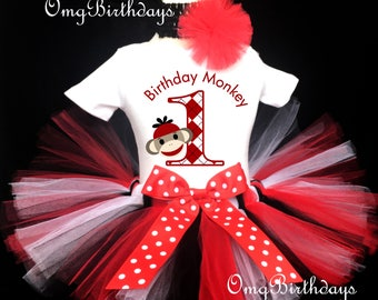 Fast Shipping - Birthday Sock Monkey Red Black White Polka Dots first 1st Shirt & Tutu Set Girl Baby Outfit Party Dress Headband