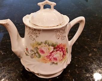 Limoges Porcelain Floral Teapot Roses with Gold Gilt Romantic Teapot Cottage Shabby Chic