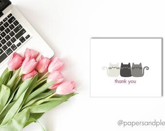 DIGITAL FILE - Kitty Cat Thank You Cards | Kitten Thank You Notes | Thank You Cards | Cat Lady Thank You Cards | Instant Download |