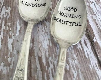 Good Morning Beautiful or Handsome Vintage Silver Plated Teaspoon - Valentine's Day - Boyfriend Gift - Girlfriend Gift - Wedding Engagement