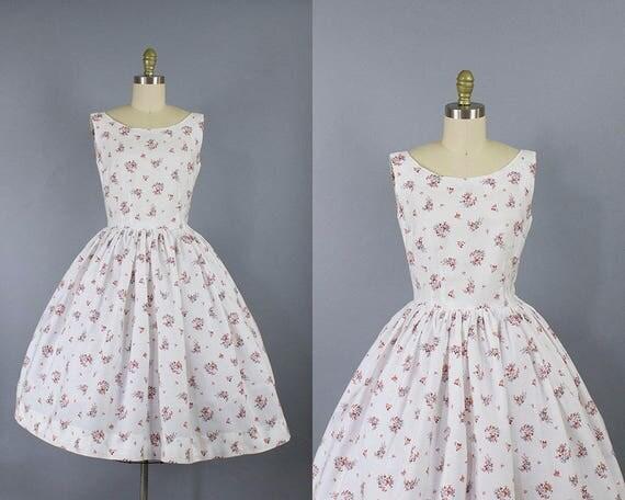 1950s Floral Cotton Dress/ Medium (34b/28w)