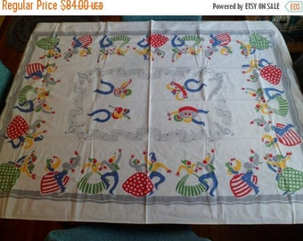"3 Day SALE Vintage Bucilla Tablecloth 36-1/2 x 53"" Whimsical Dancing Folk People Musical Notes Bright Primary Colors!"