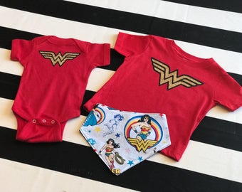 Wonder Woman Inspired Glitter Toddler/Youth Tee or Onesie.