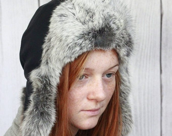 ON SALE Beautiful Luxorious unique real, 100% natural fox fur Hat Sheepskin Cap, Real Fur, Real Leather Gray Fur