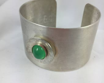 Sterling Silver Cuff Bracelet with Gorgeous Green Chyrsophrase Gemstone