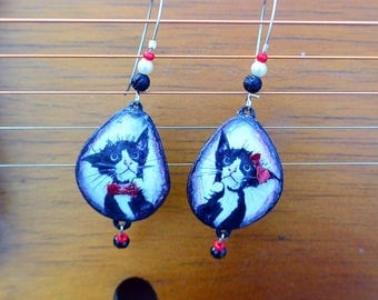 Earrings with animal paintings • Daily outfit • Teenage look
