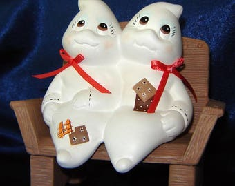 Ceramic Ghost Couple and Bench - Halloween Decoration - Fall Decorations - Ceramics for Fall