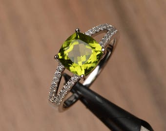 genuine peridot ring promise ring cushion cut sterling silver ring green gemstone ring August birthstone ring