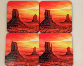 Monument Valley Sunset Scenic,Graphic Art,  4 piece coaster set