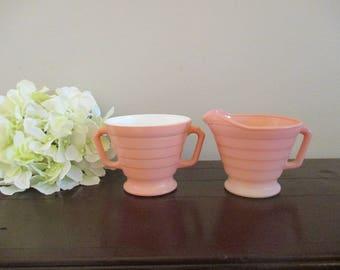 Hazel Atlas Moderntone Pink Platonite Sugar Bowl and Creamer Set