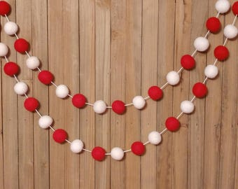 Candy Cane Garland, Christmas, Red and White, Holiday, Party, Mantel, Room, Tree, Decor, Decorations, Banner, Bunting, Pom Pom, Felt Ball