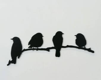Gentil Birds   Metal Wall Art   Birds On A Branch #22   (Small)